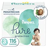 Diapers Size 3, 116 Count - Pampers Pure Protection Disposable Baby Diapers, Hypoallergenic and Unscented Protection, Enormou
