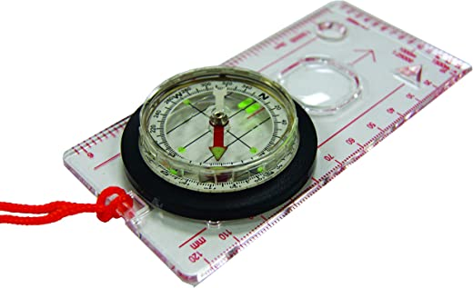 UST Deluxe Map Compass with Raised Base Plate and Swivel Bezel for Hiking, Camping, Backpacking, Emergency and Outdoor Survival