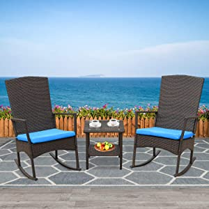 Rattaner Outdoor 3 Piece Wicker Rocking Chair Set Patio Bistro Set Conversation Furniture -2 Rocker Chair and Glass Coffee Side Table-Mix Brown Rattan& Blue Cushion