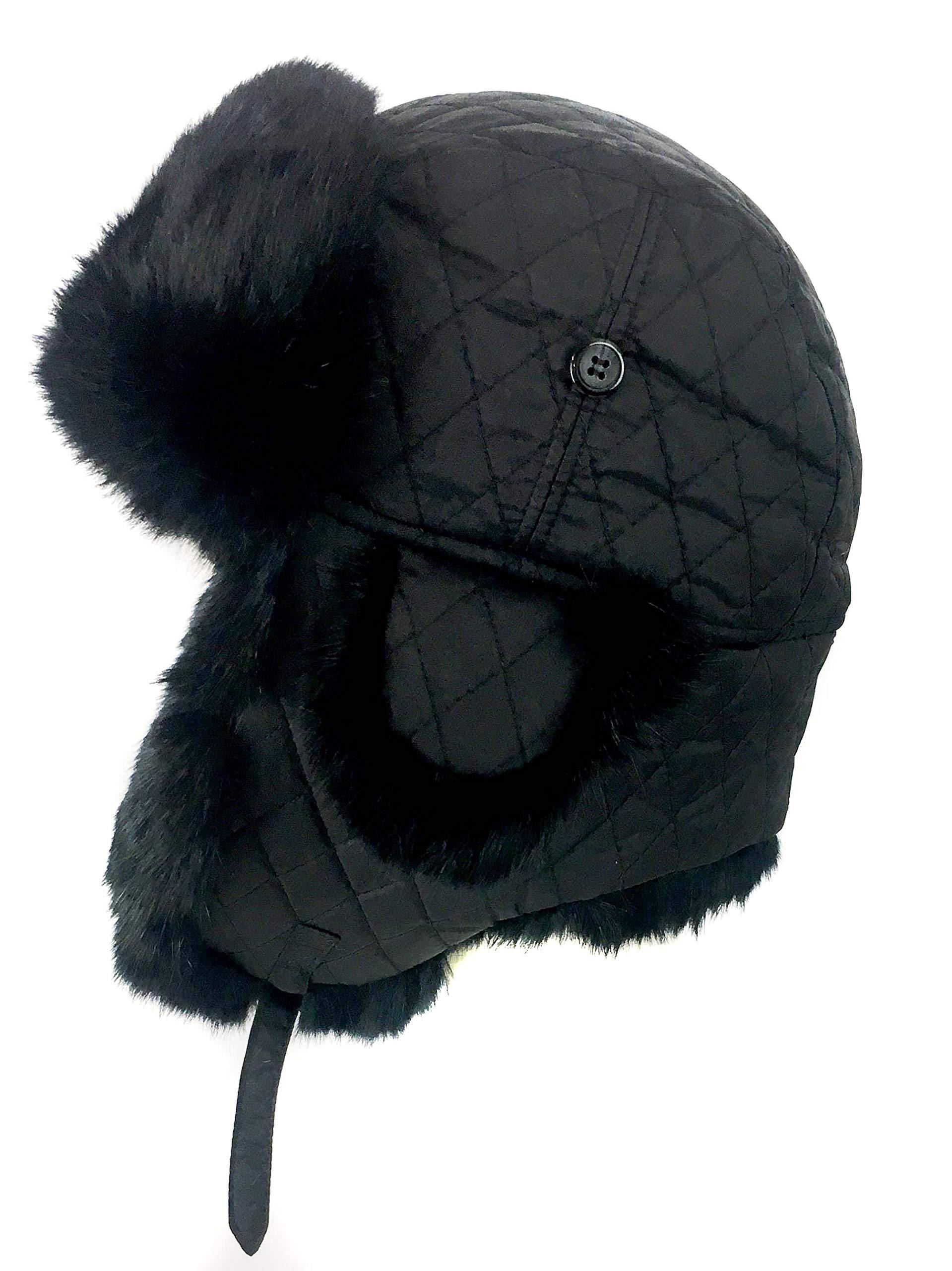 surell Trapper Aviator Hat with Rabbit Fur Trim - Warm Bomber Trooper Hat - Perfect Winter Luxury Gift (Black)