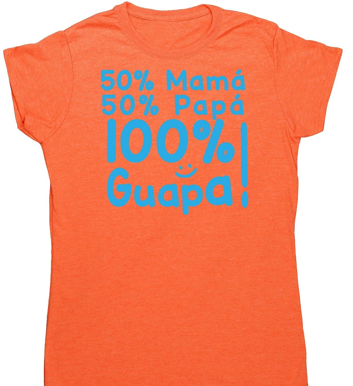 HippoWarehouse 50% Mamá 50% Papá 100% Guapa!! camiseta manga corta ajustada para mujer: Amazon.es: Ropa y accesorios