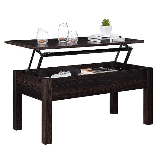 Mesa de centro rectangular de madera con tapa elevable, mesa móvil ...