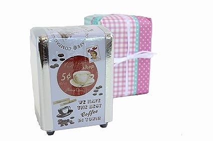 MinaWum servilletero Vintage café, aspecto retro serviettenbox incluye caja de regalo, dispensador de servilletas