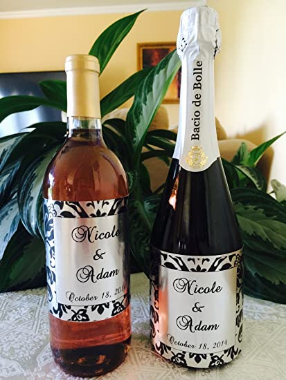 Amazon 12 Silver Foil Damask Themed Champagne Or Wine Bottle