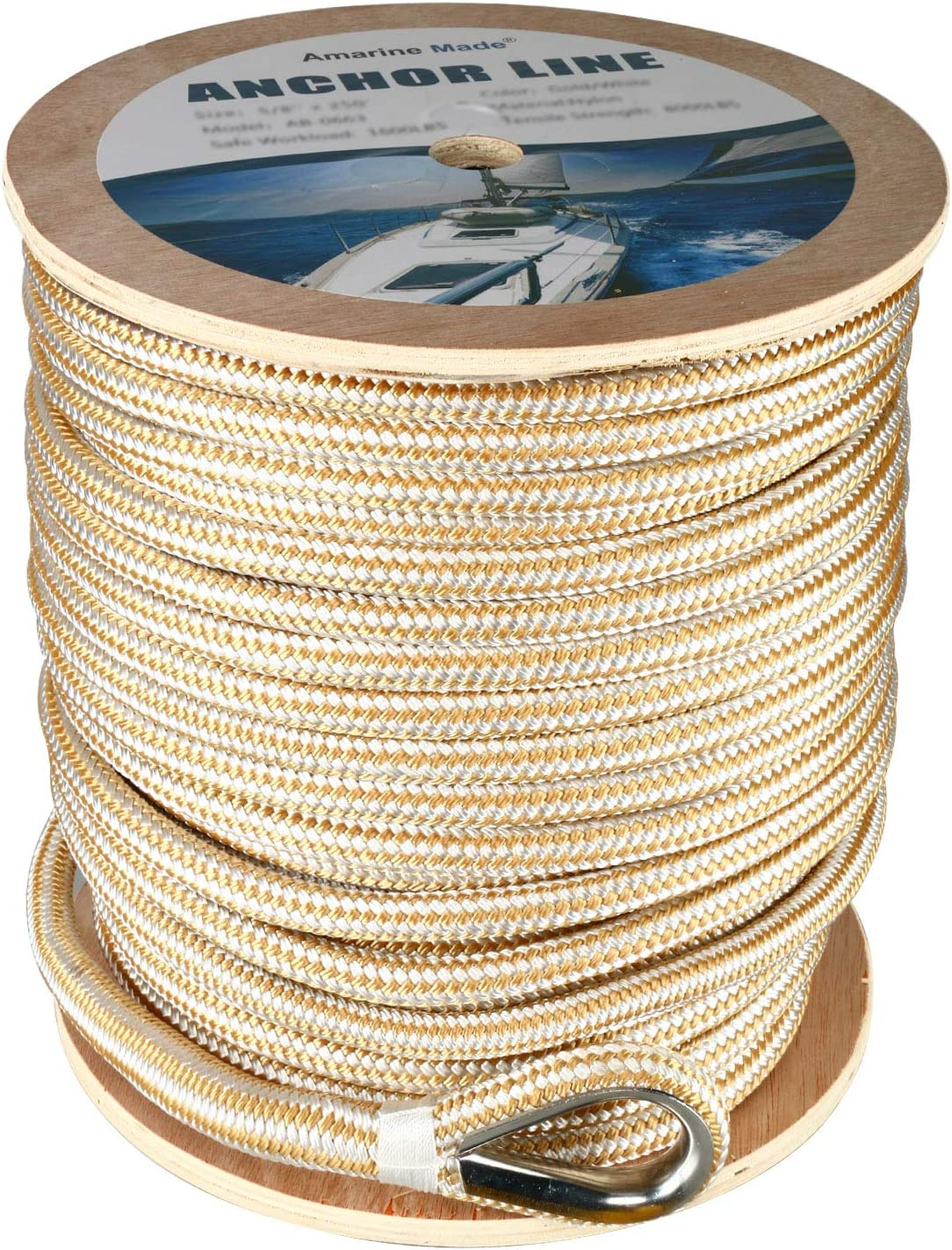 1//2″ X 100′ ANCHOR LINE BLACK DOUBLE BRAID NYLON ROPE W// STAINLESS STEEL THIMBLE