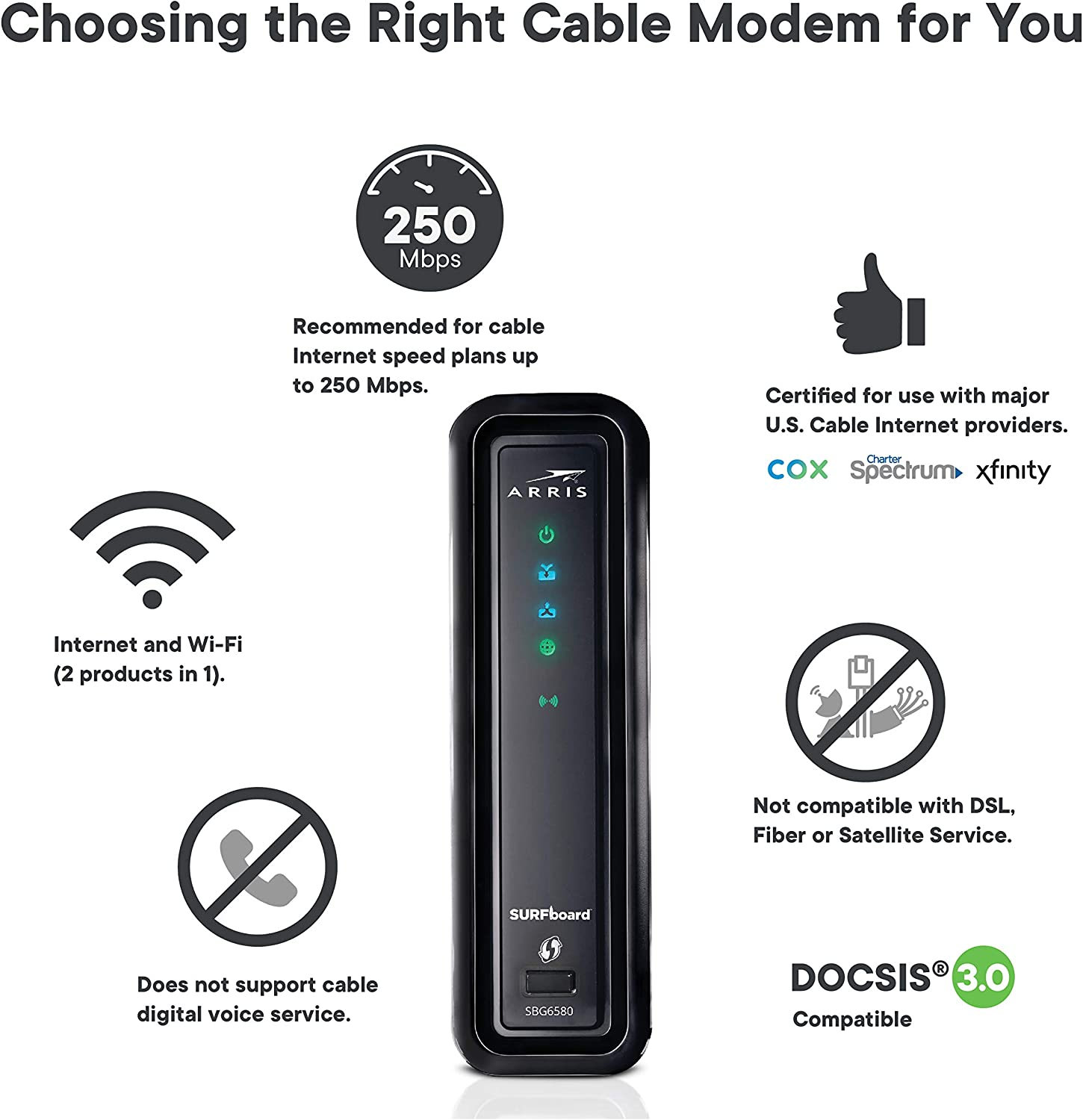 COX MOTOROLA SBG6580 DOCSIS 3.0 Cable Modem Router COMCAST XFINITY,TIME WARNER