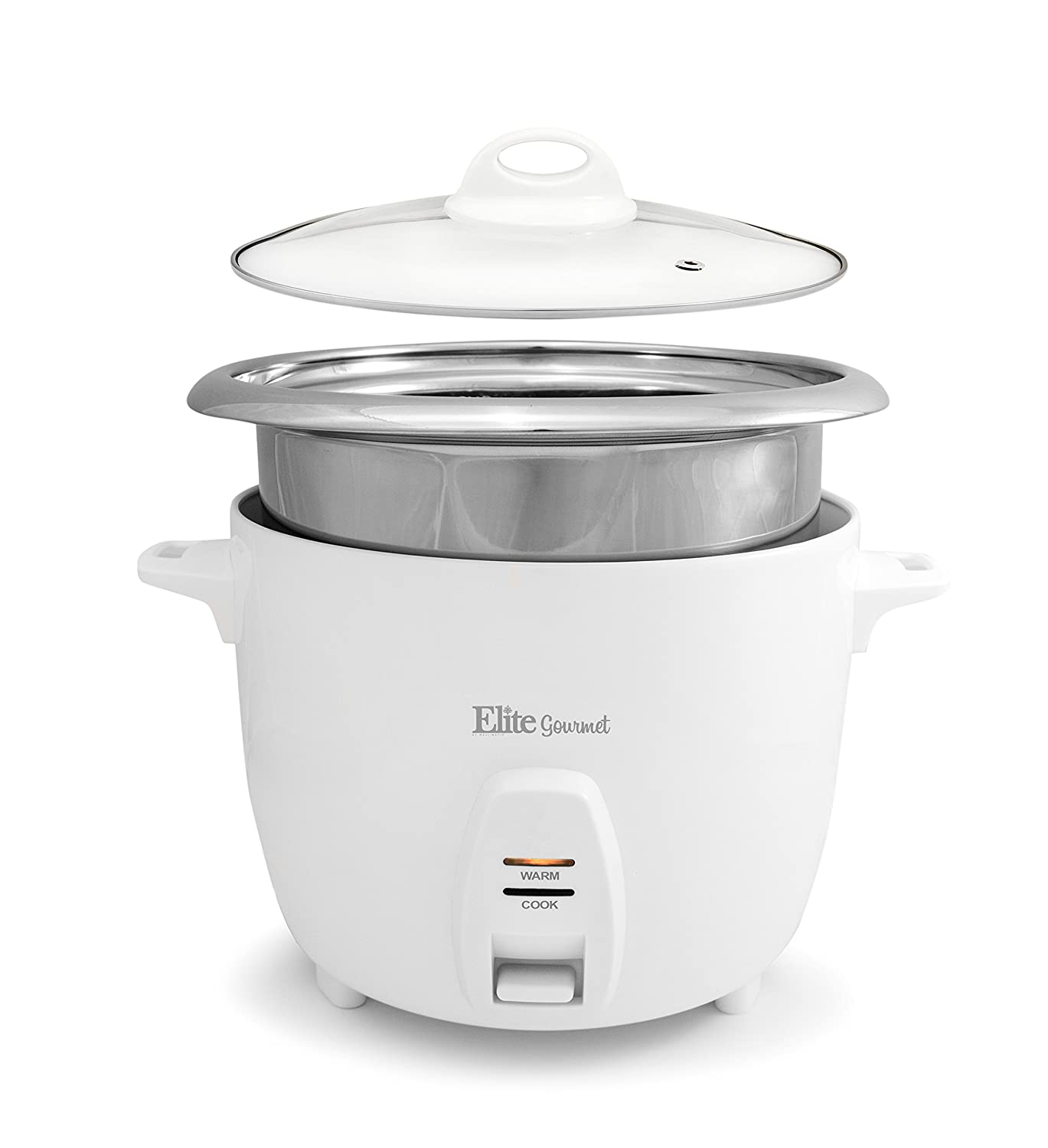 Elite Gourmet ERC-2010 Electric Rice Cooker with Stainless Steel Inner Pot Makes Soups, Stews, Grains, Cereals, 10 Cooked (5 Cups Uncooked), Cup Cups), White