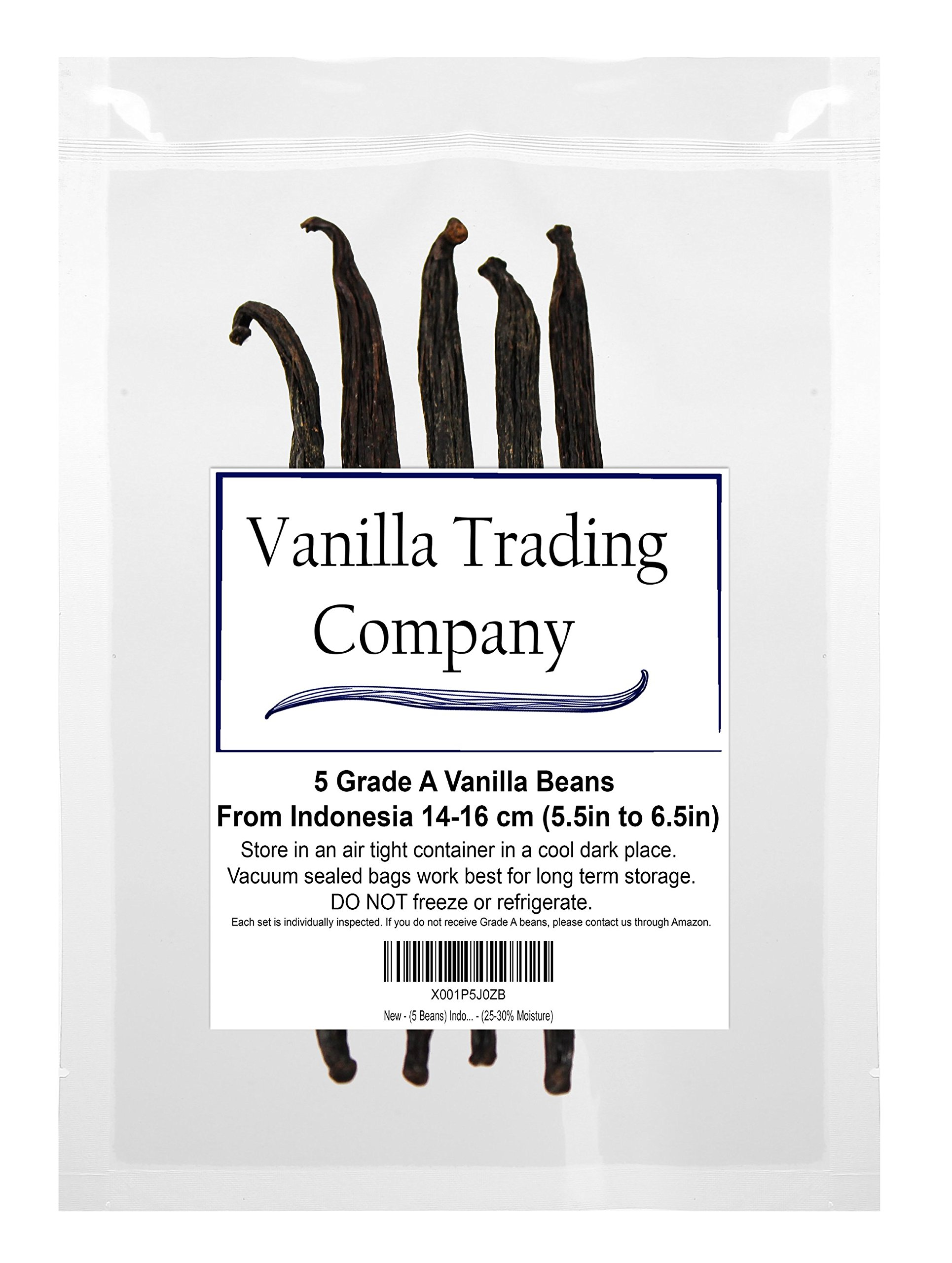 (5 Beans Tahitian) From Indonesian – All Natural Vanilla Beans, Grade A – (10-15% Moisture)