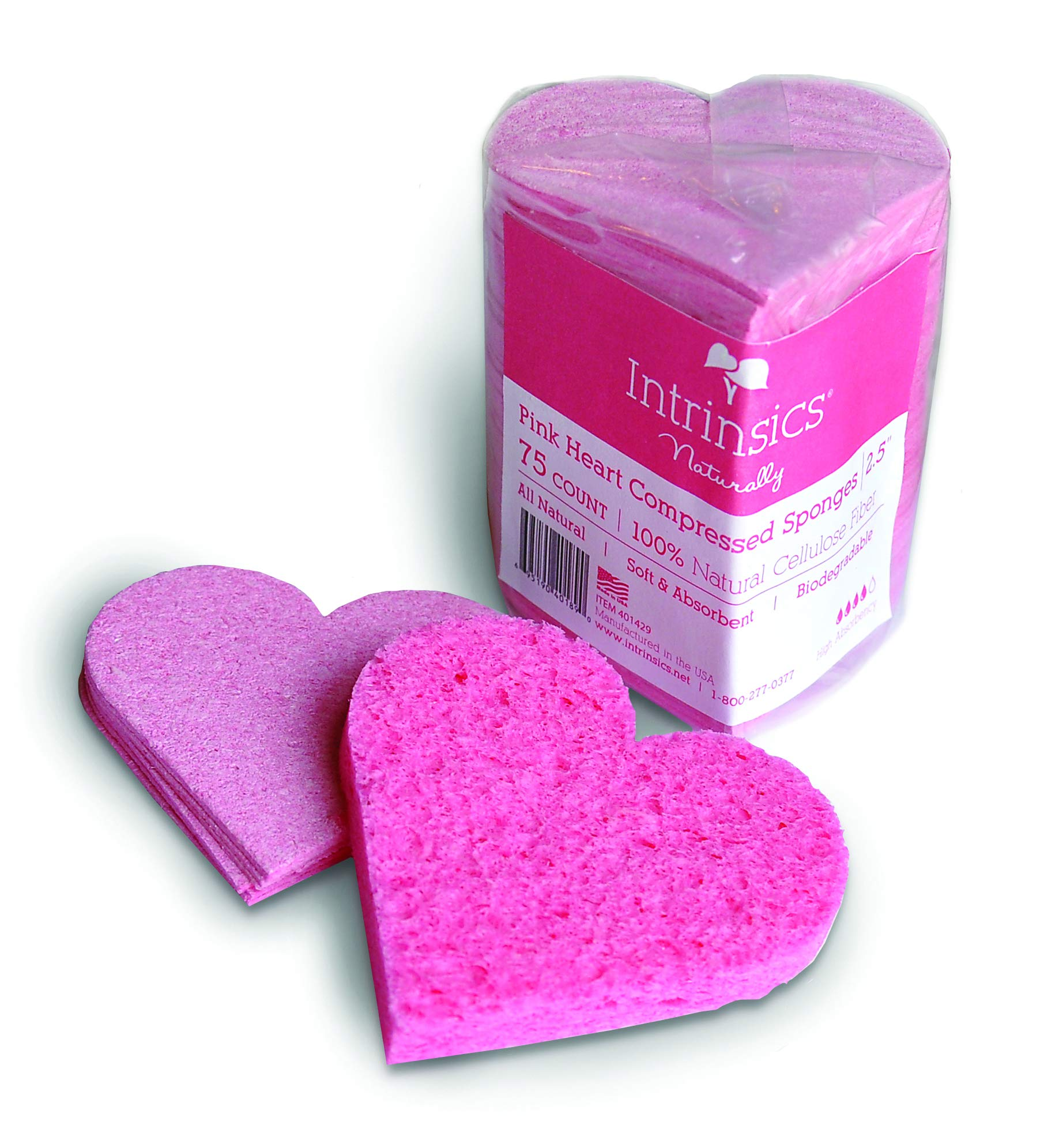 Intrinsics Pink Heart Compressed Cellulose Sponges For Facial Cleansing - 2.5'', 75 Count