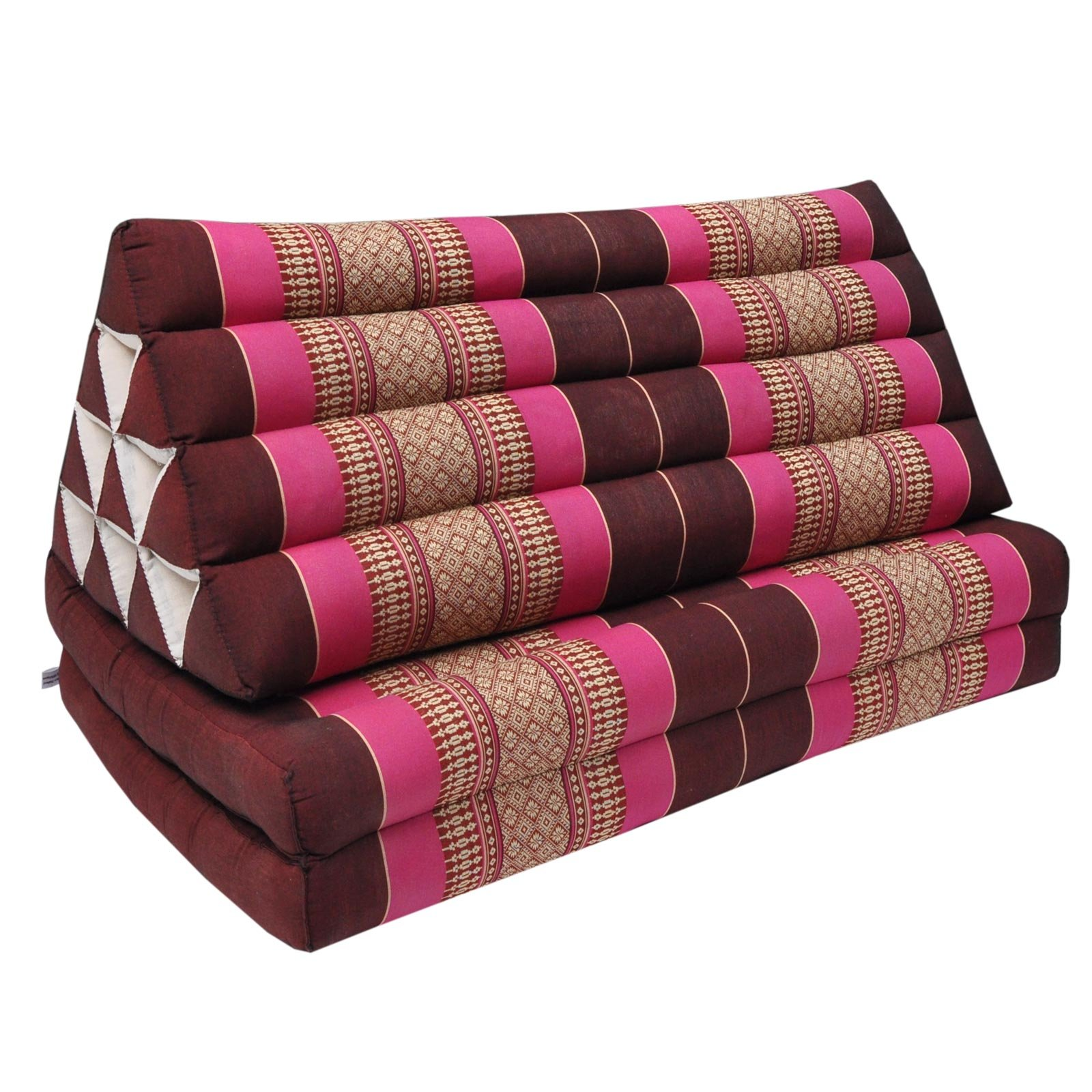 Thai cushion + mattress - Coussin Thailandais triangle XXL avec assise 2 plis, détente, matelas, kapok, fauteuil, canapé, jardin, plage Bordeaux/Pink (81417) by Wilai GmbH