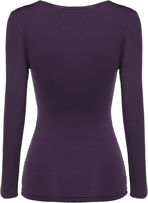 Zeagoo Damen V-Ausschnitt Langarmshirt Tunika Bluse Obertail T-Shirt mit R/üschen