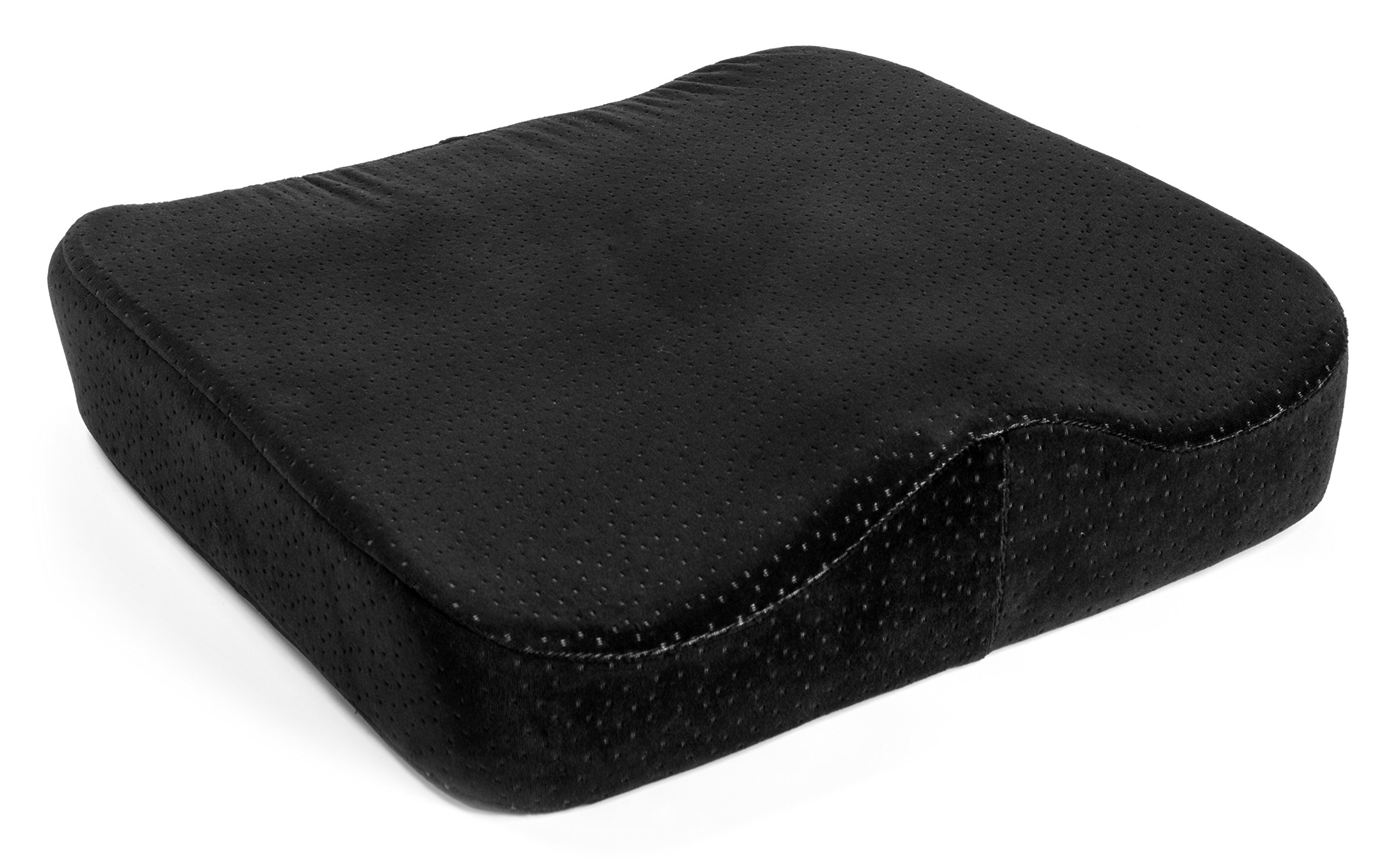 AERIS Memory Foam Seat Cushion Premium Large Office Chair Pad with a Buckle to Prevent Sliding-Car Machine Washable Black Plush Velour Cover