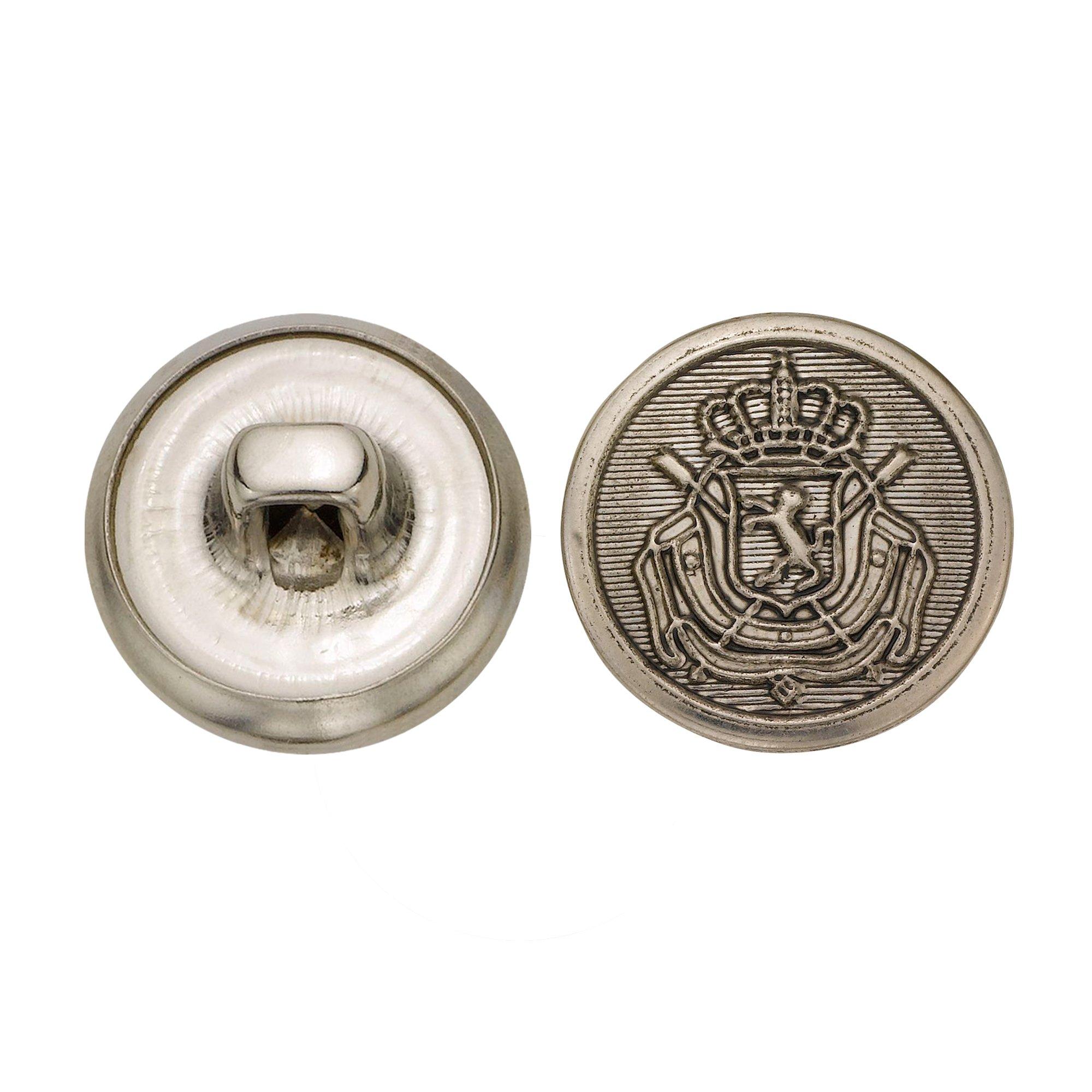 C&C Metal Products 5289 Royal Crest Metal Button, Size 24 Ligne, Antique Nickel, 72-Pack