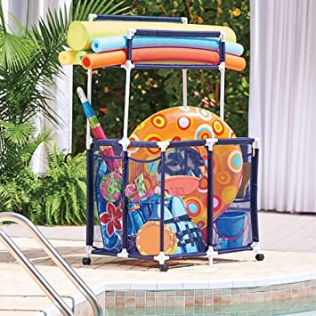Pool Toy Storage Bin With Noodle Holder For Rafts Vests Balls Floaties  Towels