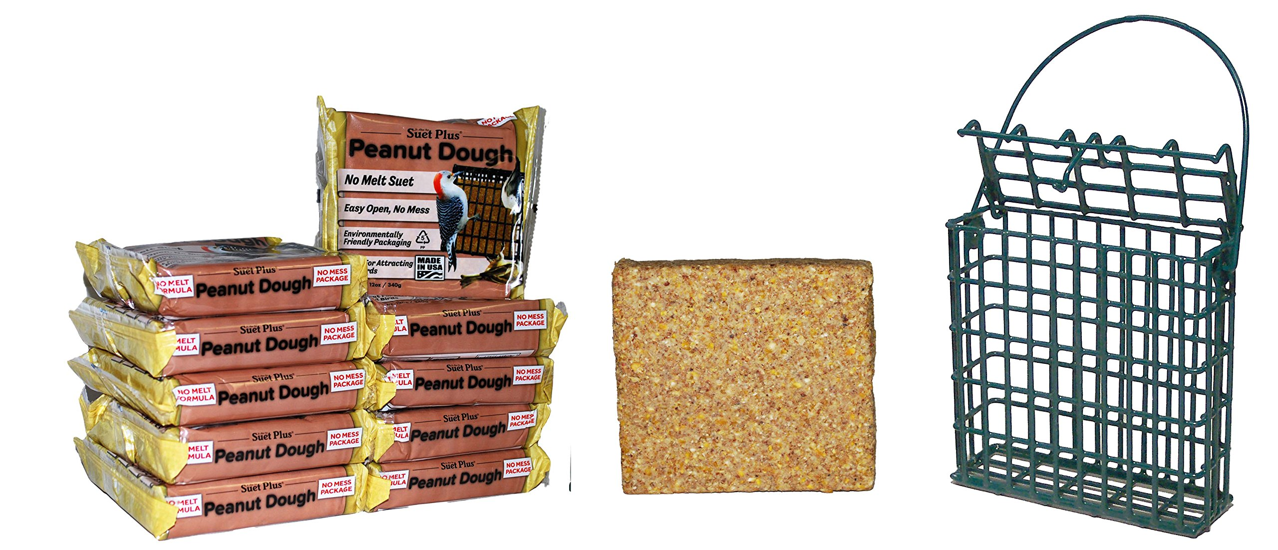 Peanut Dough Suet 10 Pack & Suet Feeder