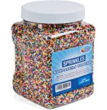 Rainbow Nonpareils Sprinkles - Non Pareil Sprinkles in Resealable Container, 1.9 LB Bulk Candy