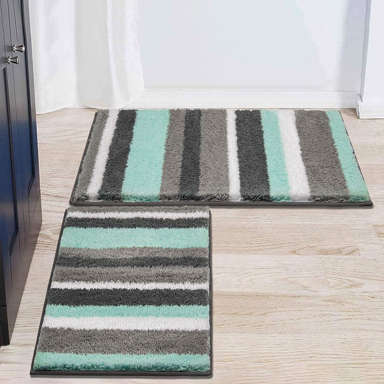 Hebe Bath Rug Set Of 2 Piece Microfiber Bathroom Rugs Sets Non Slip Shag Bath Mat Rug For Bathroom Kitchen Bedroom Washable 26 X18 32 X20 2 Packs Kitchen Dining