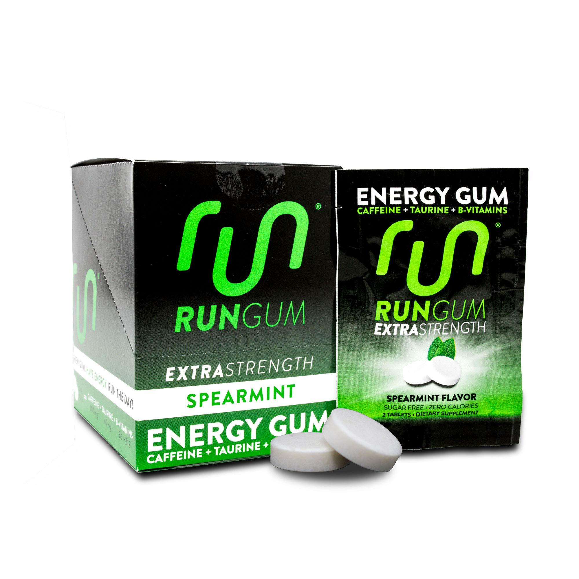 Extra Strength Spearmint Caffeinated Energy Gum 100mg Caffeine Taurine B-Vitamins (Box of 12 Packets, 24 Pieces) Zero Calorie Sugar Free No Aspartame Chewing Gum Tablet