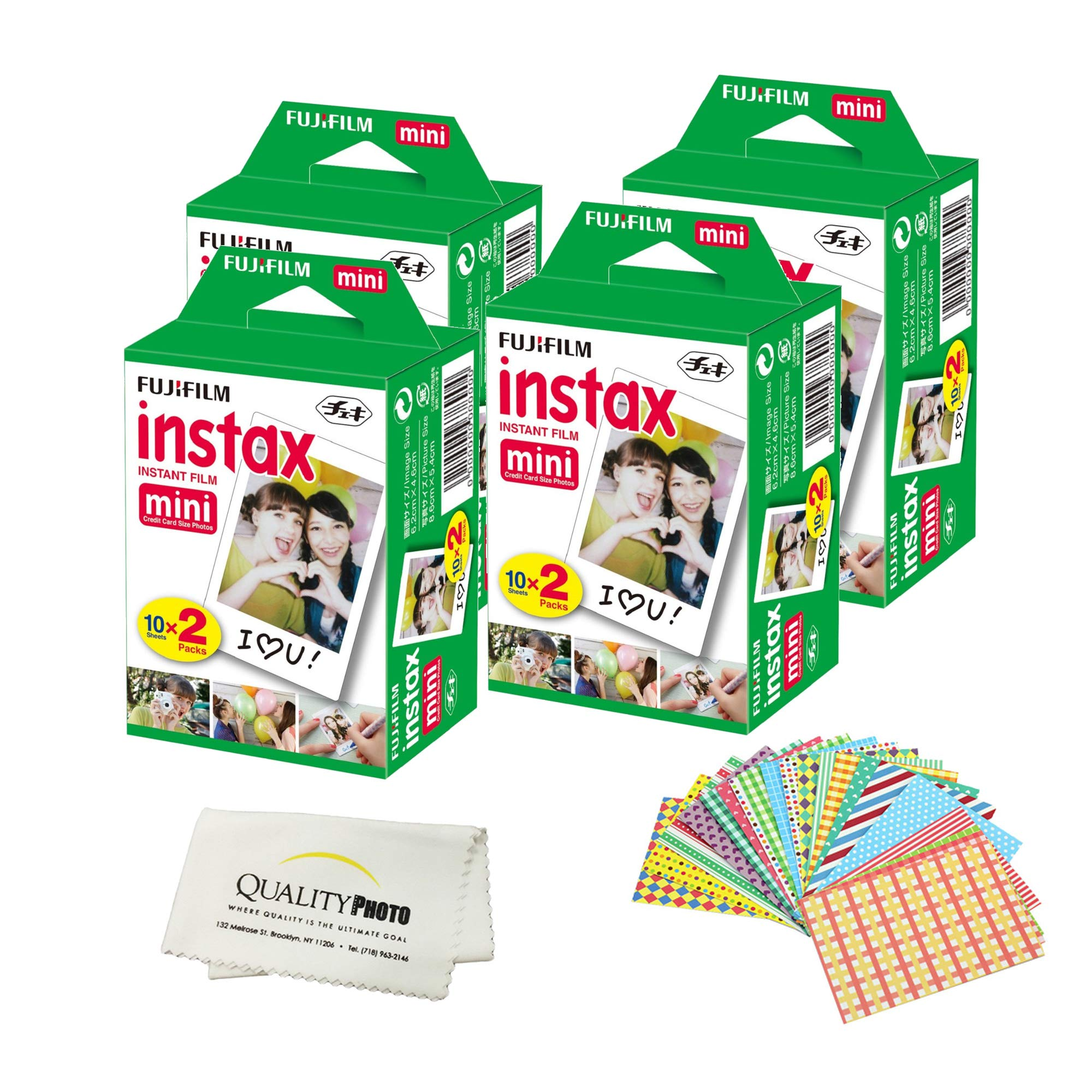Fujifilm INSTAX Mini Instant Film - 80 Sheets - (White) for Fujifilm Instax Mini 8 & Mini 9 Cameras + Frame Stickers and Microfiber Cloth Accessories …