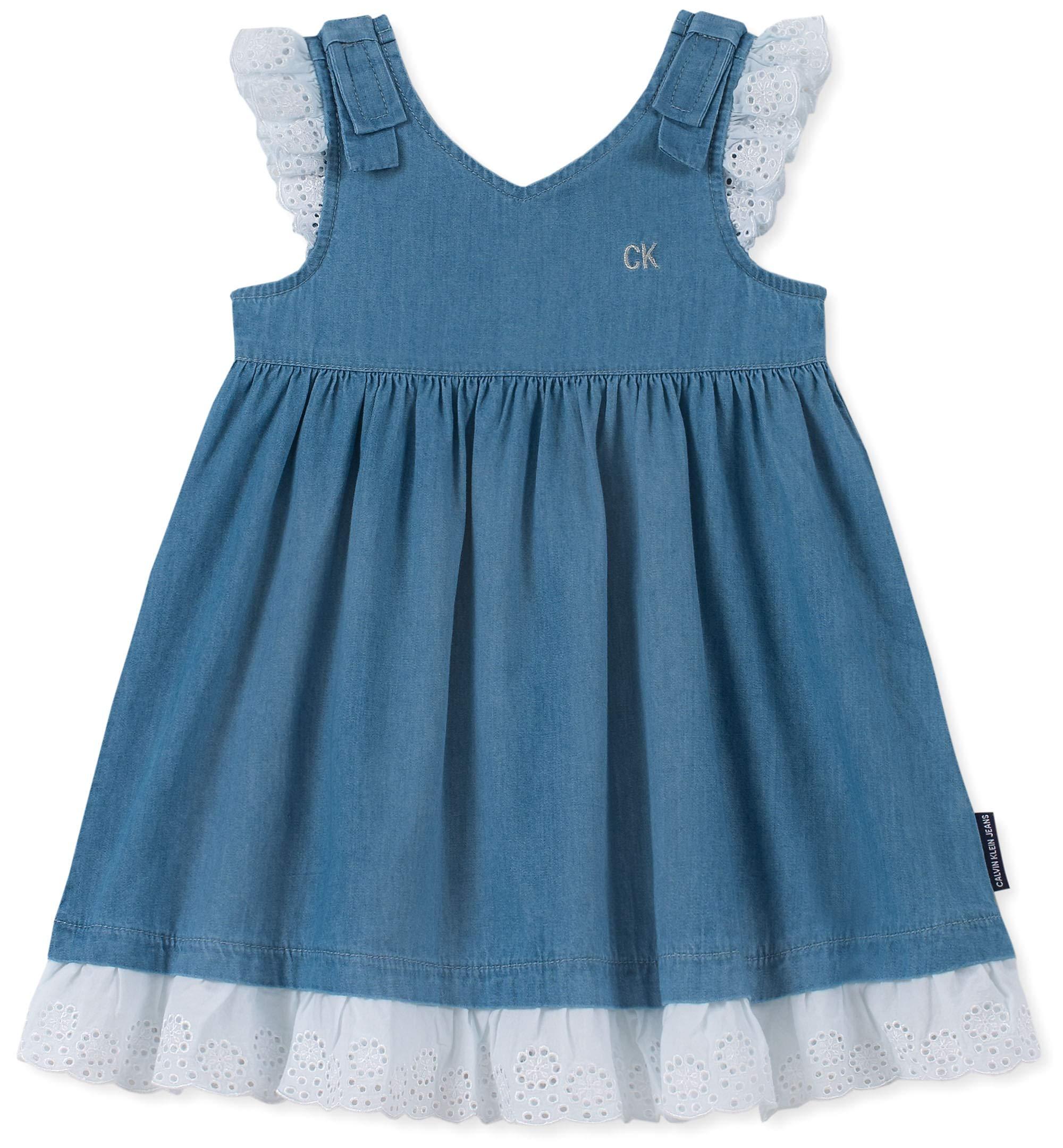 Calvin Klein Baby Girls Denim Dress, Medium wash