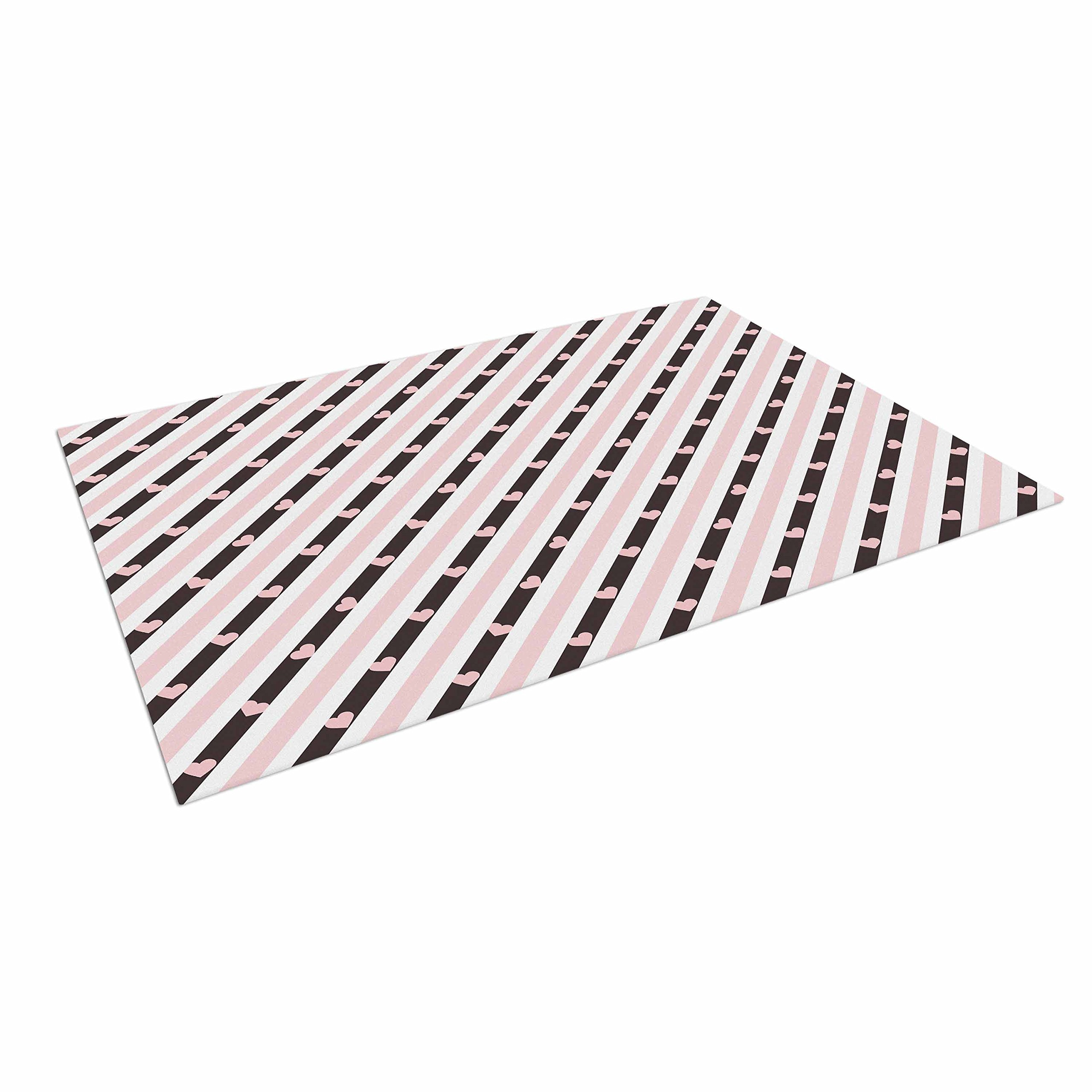 KESS InHouse Vasare Nar ''Pastel Stripe Heart'' Pink Love Outdoor Floor Mat, 4' x 5'