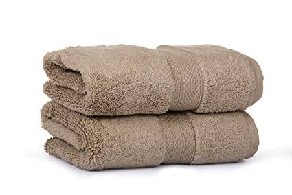 CASALINO Affluence Cotton 650 GSM Hand Towels (40x60cm, Brown) - Set of 2
