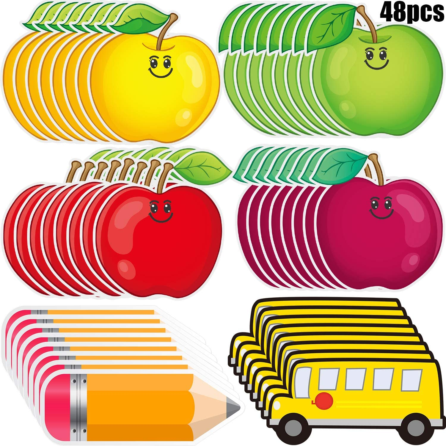 48 Pieces Fruit Cut-Outs Chunky Pencils Cut-Outs School Bus Accents Colorful Bulletin Board Cutouts for Classroom Decor School Playroom Baby Nursery Kids Bedroom Art Studio