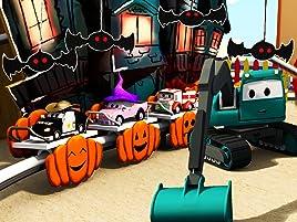 Equipo Constructor construye el Tren Fantasma y La carrera de coches de bebés. ¡Ethan el camión volquete, Edgar la excavadora y Charlie la grúa son los ...
