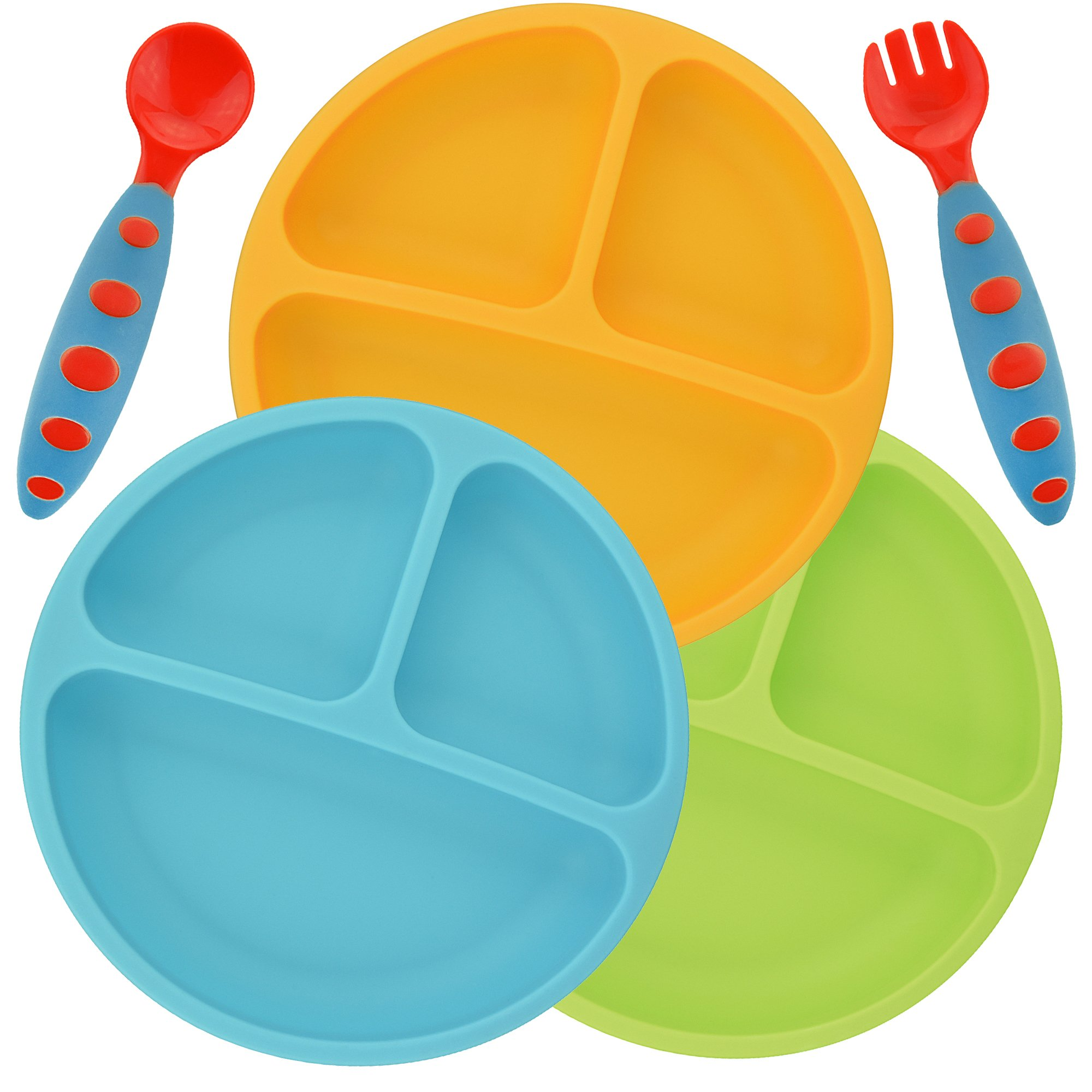 PandaEar Divided Unbreakable Silicone Baby and Toddler Plates - 3 Pack - Non-Slip - Dishwasher and Microwave Safe - FDA/LFGB Certified Silicone Blue Green Yellow by PandaEar