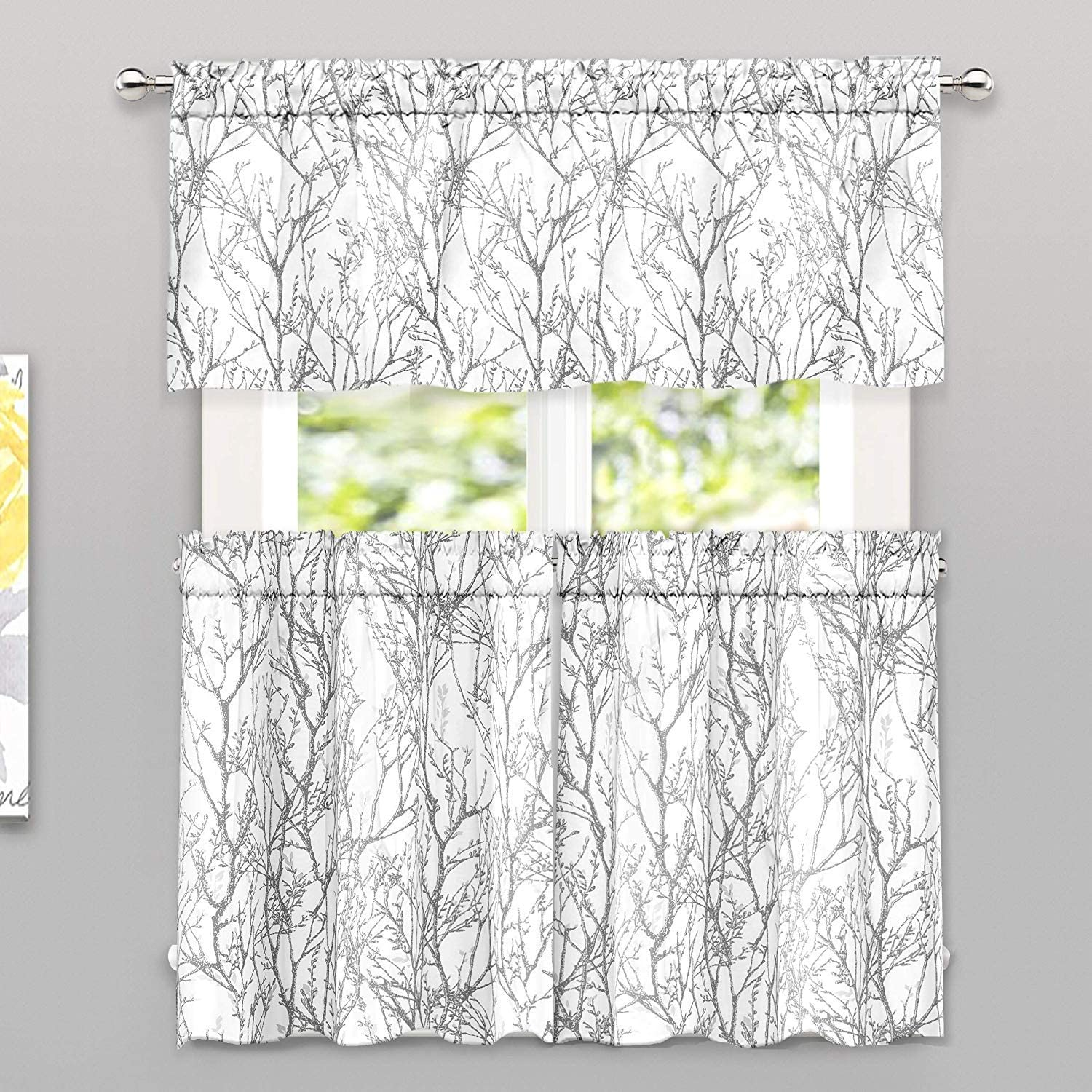 DriftAway Tree Branch Botanical Pattern Semi Sheer 3 Pieces Rod Pocket Kitchen Window Curtain Set with 2 Tiers 26 Inch by 24 Inch Each and 1 Valance 52 Inch by 14 Inch Gray White