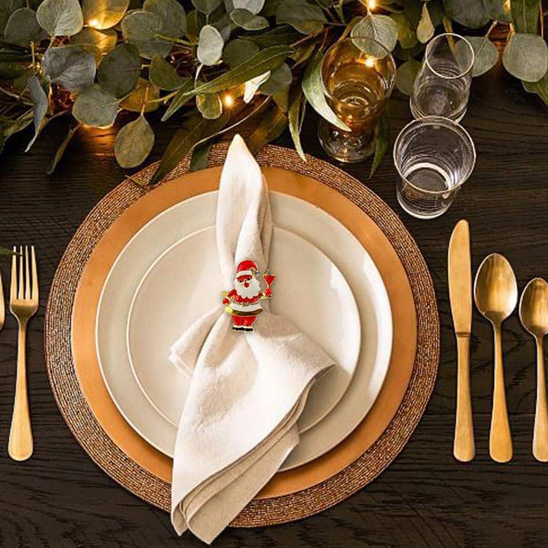 d/écoration de table pour Thanksgiving Robeam Lot de 6 ronds de serviette de No/ël P/ère No/ël pour f/ête de mariage mariage f/ête No/ël ou Nouvel An banquet