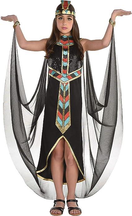 Amazon Com Disfraz De Cleopatra Oscuro Para Ninas Talla Grande Incluye Un Vestido De Lentejuelas Detallado Una Capa Y Una Diadema Toys Games