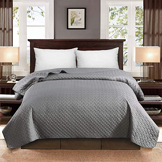 HollyHOME Luxury Checkered Super Soft Solid Single Pinsonic Quilted Bed Quilt Bedspread Bed Cover Ivory Twin