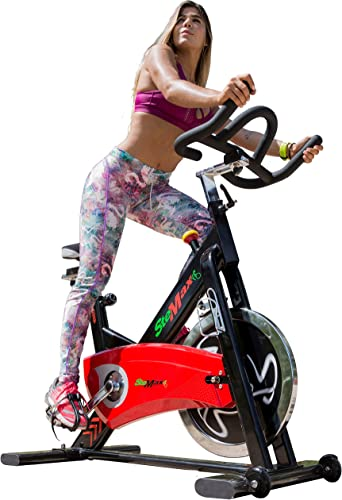 Indoor Exercise Bike Gym Grade Stationary Cycling 40 lbs flywheel Silent Belt Drive Heavy Duty Crank SPD Caged Pedals Style Cardio Workout 4 Way Adjustable'seat Handlebar
