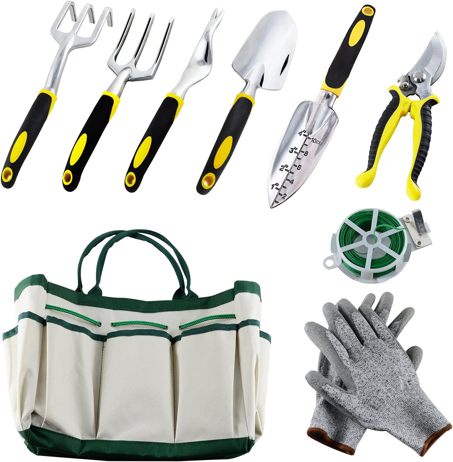 Auelife 9PC Garden Tools Set, Aluminum Alloy Hand Gardening Kit with a Plant Rope, Soft Gloves, a Garden Tote and Garden Tools with Non-Slip Handle