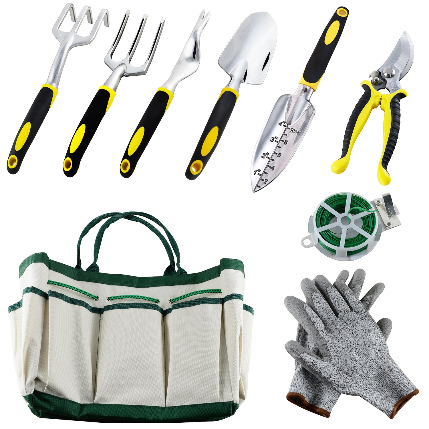 Auelife Garden Tools Set, Aluminum Alloy Hand Gardening Kit with a Plant Rope, Soft Gloves, a Garden Tote and 6 pcs Garden tools with Non-Slip Handle