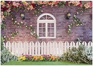 Allenjoy 7x5ft Spring Easter Garden Photography Backdrop Floral Brick Wall Fence Window Background Birthday Party Wedding Bridal Newborn Baby Shower Decor Banner Video Photo Booth Studio Props