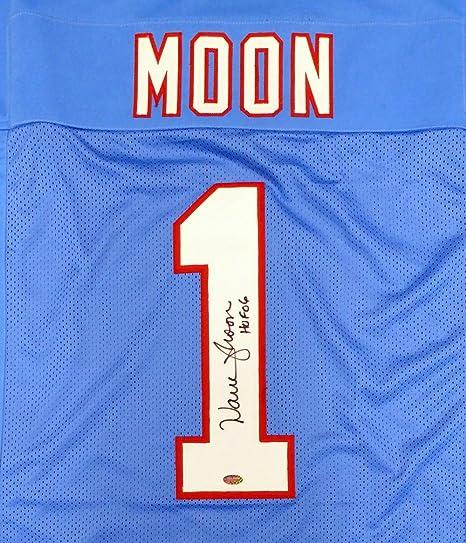 Houston Oilers Warren Moon Autographed Blue Jersey  quot HOF 06 quot  ... e109ad2f3