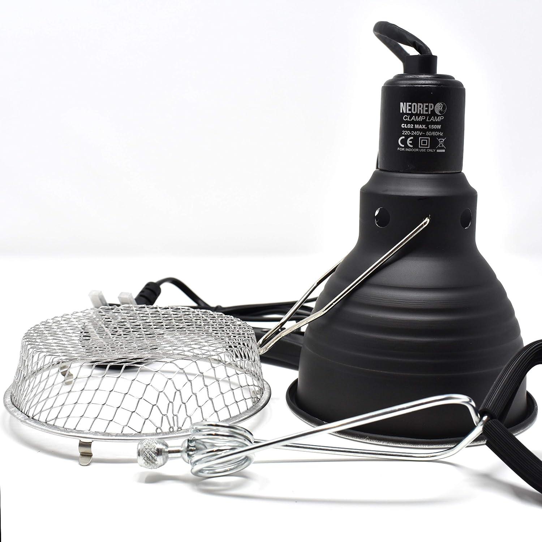 NEOREP Reptile Vivarium Brooder Clamp Lamp Bulb Holder with Guard 100 Watt 5.5 Dome E27 Thread