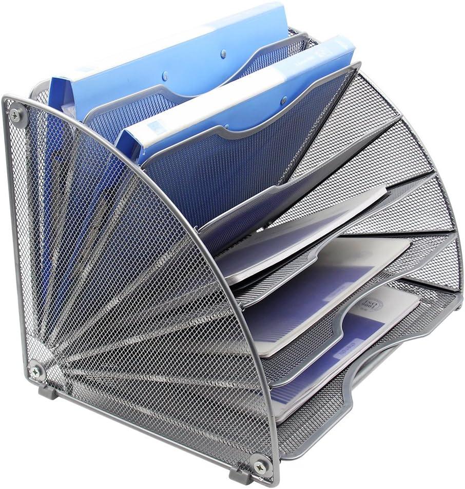 EasyPAG Fan-Shaped Desk File Organizer 6 Compartment Magazine Holder Silver