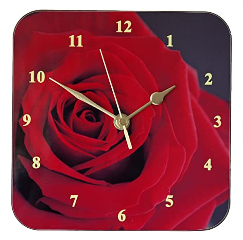 Red Rose Wall Clock 19cm X 19cm Amazon Co Uk Handmade