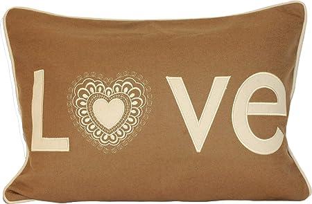 Paoletti lovehearts applique wool boudoir cushion cover caramel