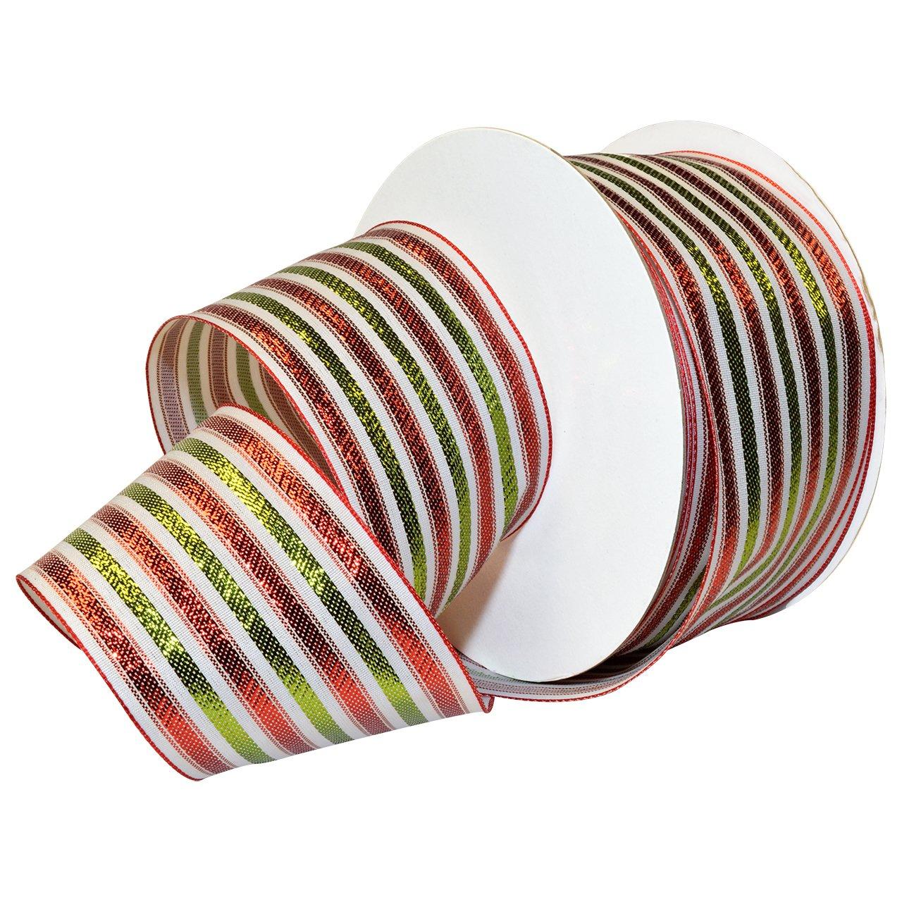 Morex Ribbon 7487.60/50-699 フレンチワイヤー ポリエステル バロックノール リボン、2 1/2 x 50 ヤード、ホワイト/グリーン/レッド   B016QCDRBE
