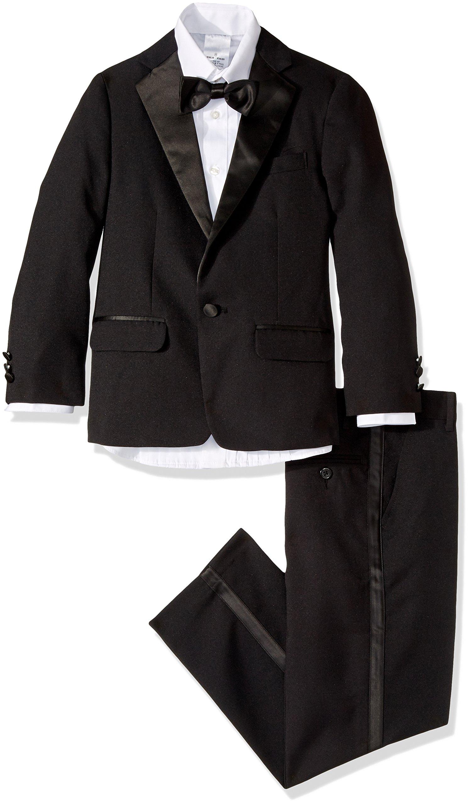 Nautica Boy's Big Tuxedo Set with Jacket, Pant, Shirt, and Bow Tie, Black, 10