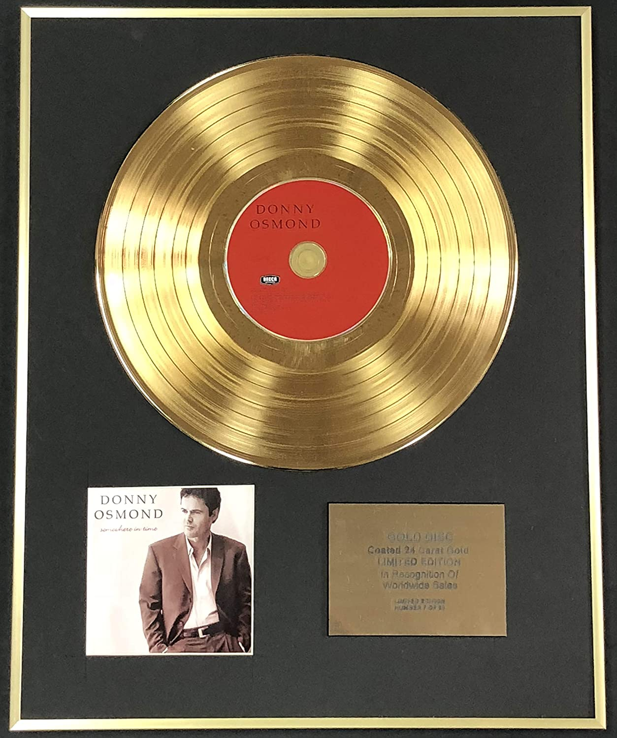 Century Music Awards - Donny Osmond - Exclusive Limited Edition 24 Carat Gold Disc - Somewhere In Time