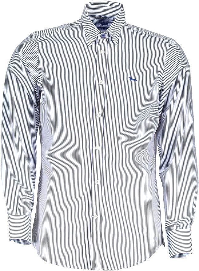 Harmont & Blaine - Camisa blanca a rayas azul de algodón - XL: Amazon.es: Ropa y accesorios