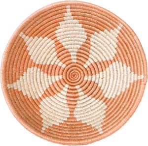 All Across Africa Expressions Collection - Medium Hanging Woven Wall Basket Decor, Decorative Serving or Fruit Basket, Food Safe, Handmade African Bowl (Peach)