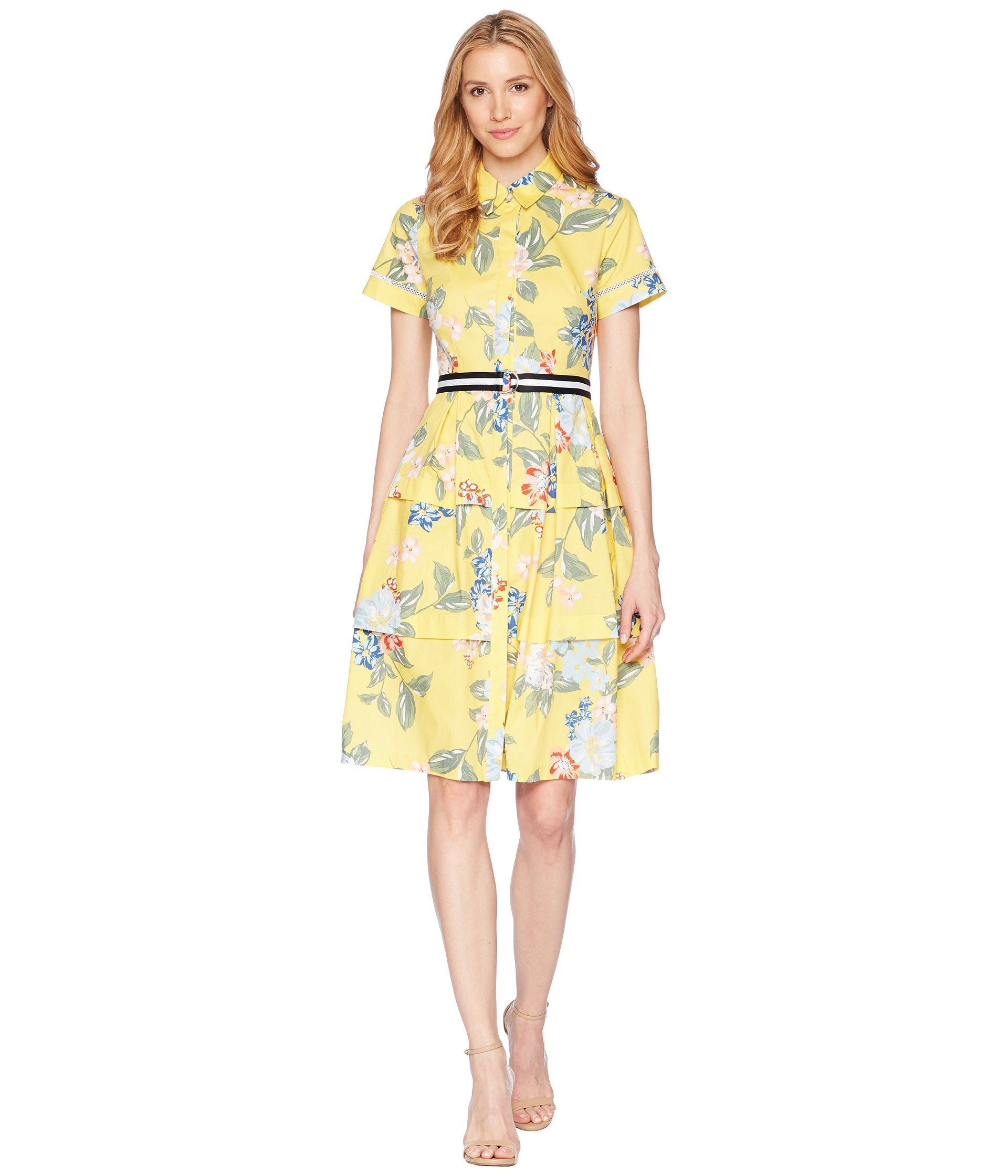 Donna Morgan Women's Printed Midi-Length Shirt Dress, Sunny Yellow/Blue Multi, 2