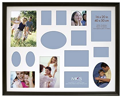 amazon com mcs 16x20 inch traditional wood collage frame black
