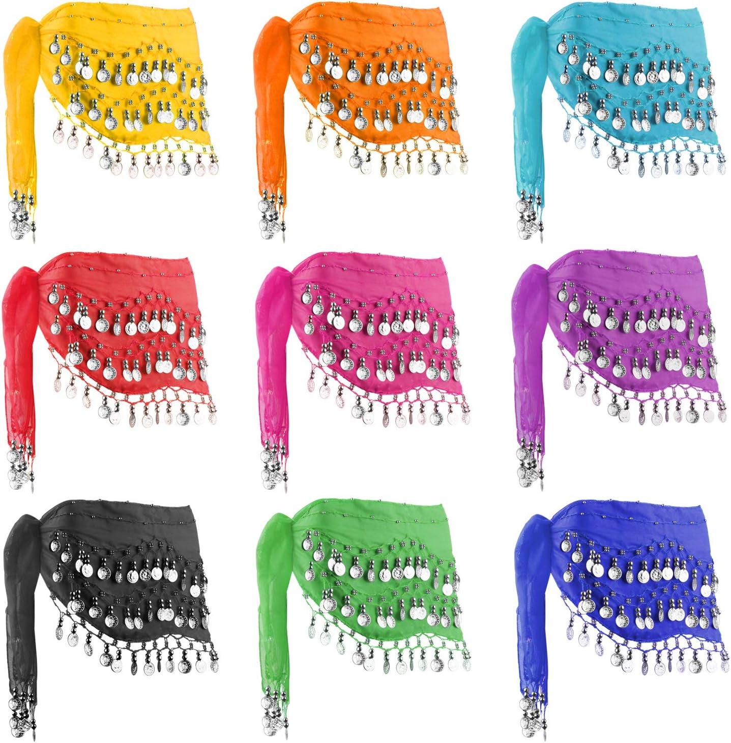 (銀 Colour Coins) - DROK 10PCS/LOT 128- ゴールド / 銀 Coins Belly Dance Waist Costume Belt, Chiffon Dangling Belly Dance Sequins Hip Scarf  銀 Color Coins
